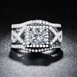 Jewelry - 925 Silver princess cut white sapphire 3pc Set